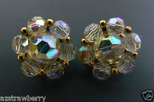 Vintage Lisner Gold TOne Metal  Aurora Borealis Beaded round clip earrings Great