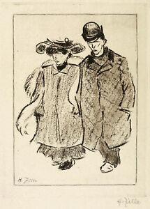 HEINRICH ZILLE - SPAZIERGÄNGER II - Radierung / Vernis mou 1906 - signiert
