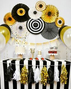 Graduation, Anniversary, Birthday, Great Gatsby, Black Gold Party Decoration Set