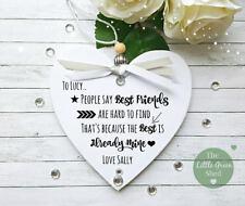 Best Friends Gift Sign Personalised Plaque Token Keepsake Heart