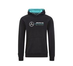 Official Mercedes-AMG Petronas F1 Men's Logo Hooded Sweatshirt BLK Size Medium