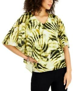MSRP $40 Jm Collection Printed Poncho Top Green Size Medium