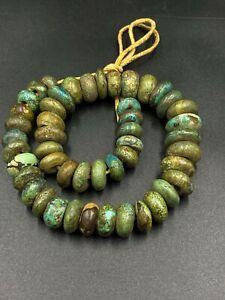 Tibetan Himalayan Vintage Antique Old Jewelry Turquoise Amulet Beads Mala