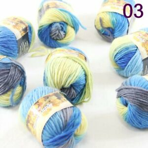 SALE LOT of 8balls x 50gr NEW Chunky Colorful Hand Knitting Scores Wool Yarn 03