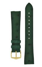 18MM Hirsch MASSAI OSTRICH Leather Watch Strap in GREEN UNIQUE & DRESSY