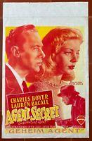 Plakat Belgischer Agent Secret Confidential Agent Lauren Bacall Charles Boyer