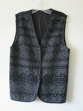 1990s WAISTCOAT Vintage INDIAN Wool Cotton Black Grey Embroidery FESTIVAL