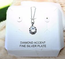 Diamond Accent Fine Silver Plated Heart Rimmed Necklace NWT $100