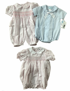 Girls or Boys Smocked Bubble Rompers - Pink or Blue Sailor SIZES 3M,9M PETIT AMI
