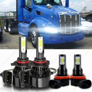 For Peterbilt 579 587 Trucks Light White 6000K 9005 H11 Hi/Lo LED Headlight Bulb