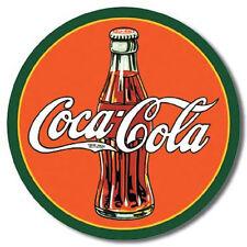 Coke 30's Bottle Logo Round Vintage Style Metal Sign Retro Tin Coca Cola Decor