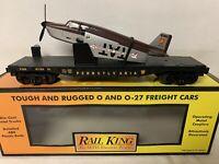 ✅MTH RAILKING PENNSYLVANIA FLAT CAR W/ AIRPLANE 30-76229! FOR O GAUGE TRAIN SET