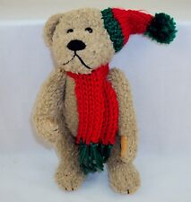 Christmas Bear Plush Toy 9 inch Plush Bear ~Brown With Knit Cap & Scarf