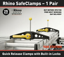 Rhino Roof Rack Ladder Clamps Safe Clamps (Pair) Lockable - New Wide Version