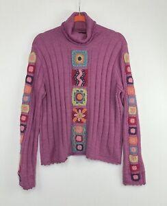 Planet Earth Women's Size Large 100% Llama Wool Pink Turtleneck Sweater EUC