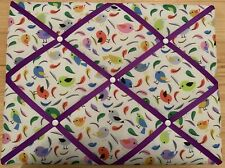 Birds Handmade Medium Landscape Fabric Notice / Memo Board