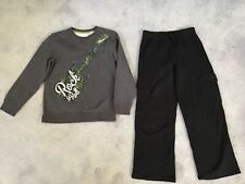 Boy's Jumping Beans Gray Fleece Shirt & Black Cargo Fleece Pants Size Xl (7X)