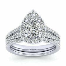 Pear Cut Diamond Engagement Bridal Ring Set Certified 2.10Ct 14K White Gold