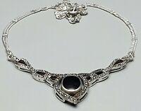 925 Sterling Silber Collier Art Deco Onix & Markasiten besetzt 42 cm lang /A22