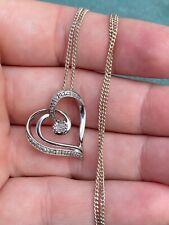 Garrard & Co LTD Sterling Silver With Diamond x 7 in centre Heart Pendant Chain
