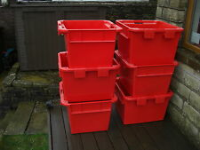 2x Large Plastic Storage Boxes Crates Containers 61x61x41 cm Industrial Strength