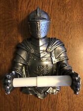 New ListingMedieval Armored Knight Spring Loaded Resin Toilet Paper Tissue Holder Free Ship