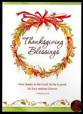 Blessings Wreath Red Berries Leaves - RELIGIOUS - Thanksgiving Greeting Card NEW