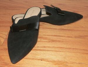 Women's Ann Taylor Black Faux Velvet Slip-on Mule Flats Size 9m w/Bow