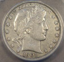 1901-O Barber Half Dollar 50c ANACS Certified VF-30 Obviously dipped at some tim