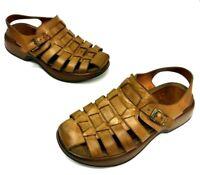 Dansko  Women's Tan Leather Closed Toe Clogs Wedge Sandal Size 37/ US 7 Shoe
