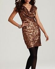NEW $298 French Connection 0 XS Gold Bronze Sequin Mini Prom Party Dress BodyCon