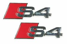 x2 New Chrome / Red SLine S4 Direct OEM Replacement Emblem For Audi S Line S 4