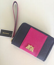 NWT Juicy Couture Navy Pink Stripe Tech Wristlet wallet w/ gold crown zip around