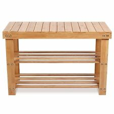 HOMFA 70cm Schuhregal,Sitzbank,Schuhbank,Hocker aus Bambus100kg Last