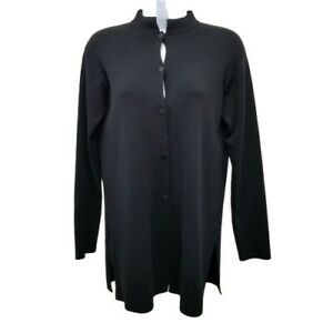 Eileen Fisher PS Black Wool Cardigan Sweater Button Down Petite Small Jacket