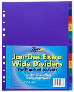 ScoTiger MONTHLY JAN-DEC STRONG FILING SUBJECT DIVIDERS Tabbed Ringbinder Folder