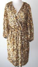 STELLA MCCARTNEY Gold Silk Sequin Wrap Front Dress 6