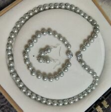8mm AAA Light Gray Shell Pearl necklace Bracelet Earring Set