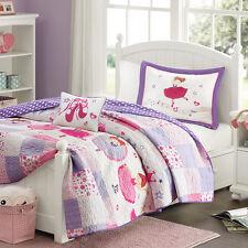 Mi Zone Kids TuTu Ballerina Ballet Pink & Purple Quilt Bedding Set Twin Size NEW
