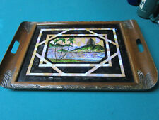 "BUTTERFLIES WINGS WOOD CARVED TRAY MADE IN BRAZIL TRAY 20 X 13""  [*10RACK]"