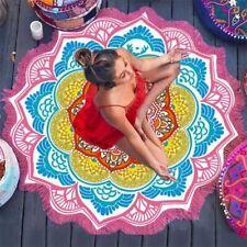 Round Beach Towel Tassel Flowers Pattern 147*147CM Circular Yoga Picnic Mat xt