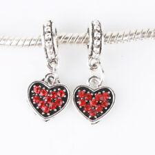 2pcs Loving Heart CZ Red Dangle Beads Fit European Charm Bracelet Chain