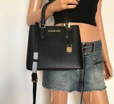 NWT Michael Kors Medium Pebbled Leather Satchel Handbag Black Shoulder Bag