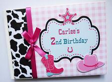 Tema personalizado Vaquera cumpleaños del libro de visitas-Cualquier Diseño