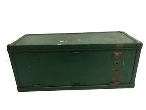 Vintage WOOD CHEST wooden trunk tote box case tool Green industrial rustic crate