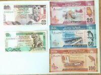 Sri Lanka 10 +20 + 20 + 50 + 100 Rupees Set of 5 Banknotes 5 PCS UNC