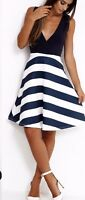sizes 8-24 new stripe striped navy white blue naval sleeveless skater dress uk