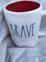 "Rae Dunn by Magenta New 2018 L/L ""BRAVE""  Mug Red Interior Rare HTF Blue Letters"