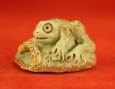 "HTF Signed Basil Matthews 1½"" Baby Frog & Caterpillar Figurine - England"