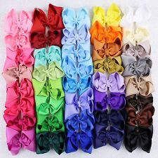 "New  40pcs  4""  Girl  Baby  toddler  child  solid  Boutique Hair Bows Clips"